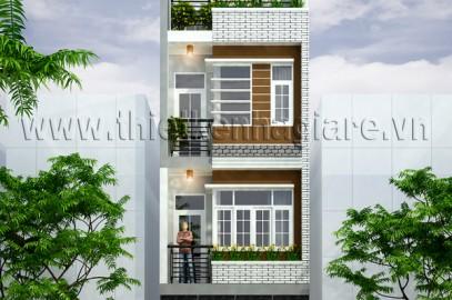 Mẩu nhà phố đẹp hiện đại – 3 tầng