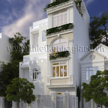Mẫu thiết kế kiến trúc nhà phố cổ điển mặt tiền 3m.